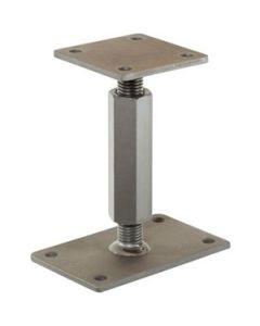 Pitzl verstelbare paaldragers, M24, lengte 167-232mm met onderplaat 160x100x6 en bovenplaat 100x100x6