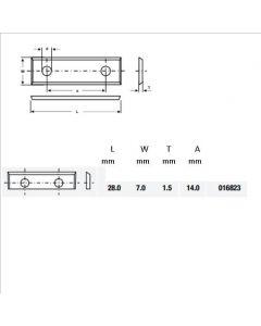 Wisselmes 28x7x1.5 Z=2 35°